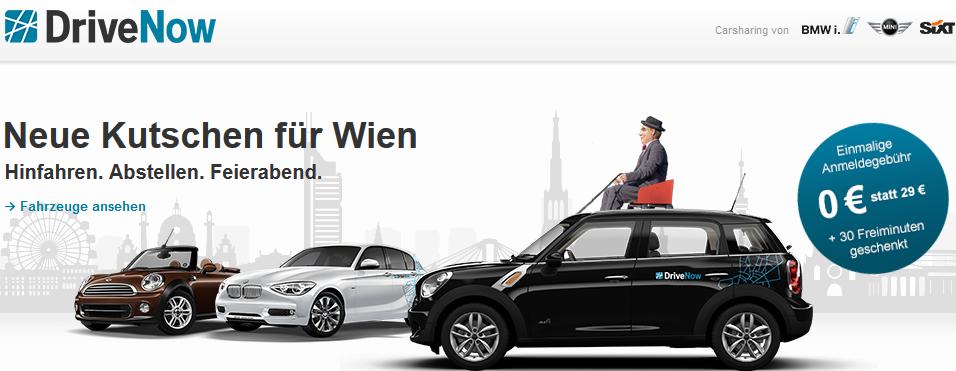 """""""DriveNow"""": neuer Carsharing Anbieter in Wien - für Frauen: Anmeldegebühr 4,99€ statt 29€ + 15 Freiminuten gratis"""