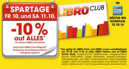 Libro Onlineshop: 10% Rabatt auf fast alles für Libro Club-Mitglieder - nur noch heute