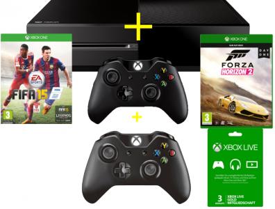 Xbox One Bundle: Konsole + 2 Wireless Controller + Fifa 15 + Forza Horizon 2 + Xbox Live für 3 Monate um 399 € - bis zu 20% sparen