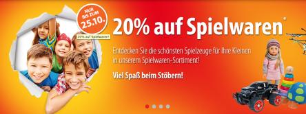 Müller: 20% Rabatt auf Spielwaren und Games vom 13. bis 28. Oktober 2014