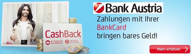 Bank Austria: monatliches Cashback für alle Kontokunden - zusätzlich bis zu 10% sparen