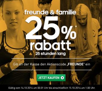 Adidas Onlineshop: -25% Rabatt auf den Einkauf - nur heute