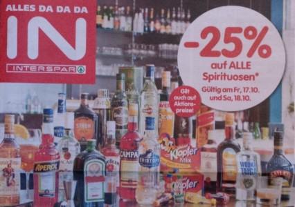 25% Rabatt auf alle Spirituosen bei Interspar – am Freitag und Samstag