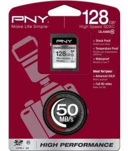 PNY High Performance SDXC Karte (128 GB) um 62 € - 22% sparen