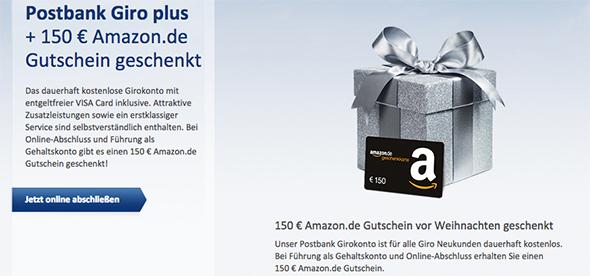 Postbank Giro plus Konto dauerhaft gratis + 150 € Gutschein bei Gehaltseingang