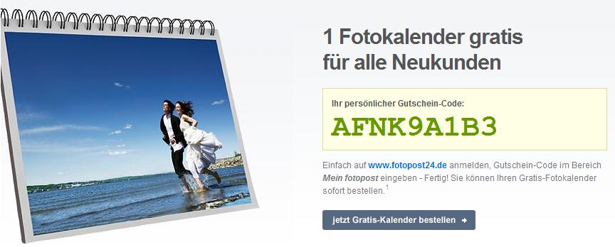 Komplett kostenloser Fotokalender inkl. Versand bei Fotopost24