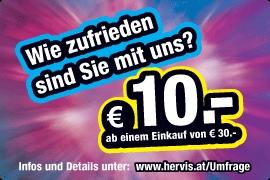 Hervis Sports: 10 € Gutschein (MBW: 30 €) für Teilnahme an einer Umfrage