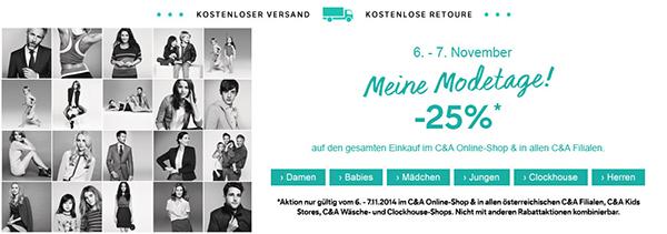 Modetage bei C&A Österreich: 25% Rabatt auf alles in den Filialen und online