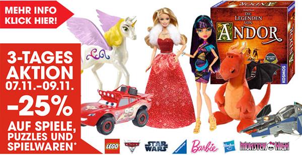 Libro: 25% Rabatt auf Spiele, Puzzles und Spielwaren - bis 09. November
