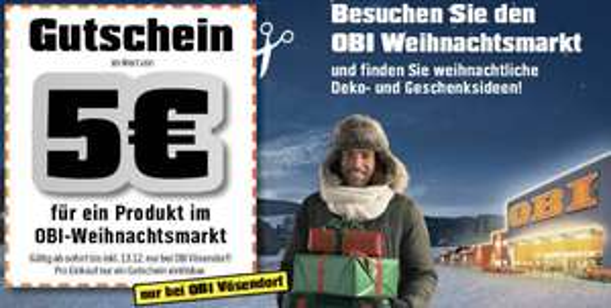 5 € Gutschein ohne Mindestbestellwert bei OBI Vösendorf (Weihnachtsmarkt)