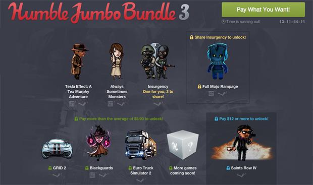 Humble Jumbo Bundle 3: bis zu 8 Spiele ab 0,01 $ - u.a. GRID 2 + Tesla Effect