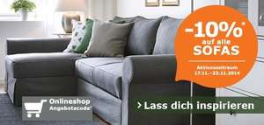 IKEA Österreich: 10% auf alle Sofas - gültig bis 23.11.2014