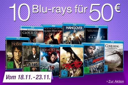Amazon: 10 Blu-rays um 50 € - 400 Titel zur Auswahl