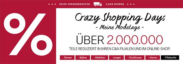 Crazy Shopping Days und 15 € Gutschein bei C&A Deutschland