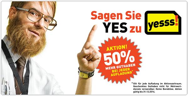 Toll! 50% mehr Guthaben bei jeder yesss!-Aufladung bis Jahresende