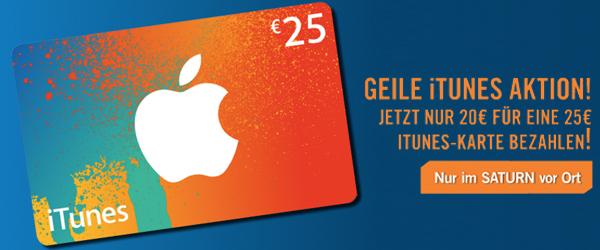 Saturn Österreich: 25 € iTunes-Guthaben um 20 € - 20% sparen