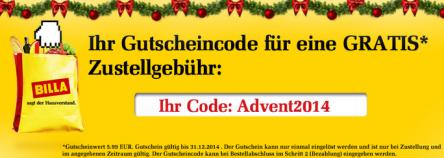 Billashop.at - einmalig gratis Zustellung bis 31. Dezember 2014 - 5,99 € sparen