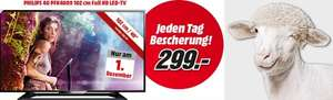 "Media Markt Bescherung - Philips ""40PFK4009/12"" LED-TV um 299 € - 25% sparen"