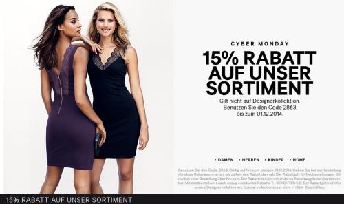 H&M: 15% auf Alles - gültig nur heute (1.12.2014)