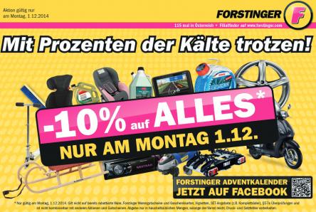 Forstinger: 10% auf Alles - nur heute (1.12.2014)