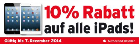 Für Grenzgänger: -10% Rabatt auf alle iPads bei Interdiscount