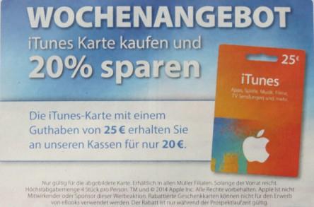 Müller Drogeriemärkte: 25 € iTunes-Karten um 20 € – 20% sparen