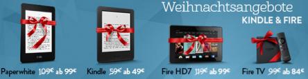 Amazon Weihnachtsangebote: Kindle eBook Reader, Fire HD7 & Fire TV vergünstigt - bis zu 17% sparen