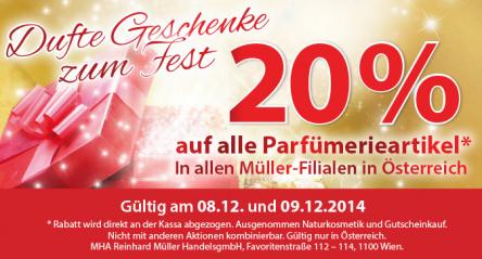 Müller Österreich: 20% Rabatt auf alle Parfümerieartikel - nur noch am 9. Dezember