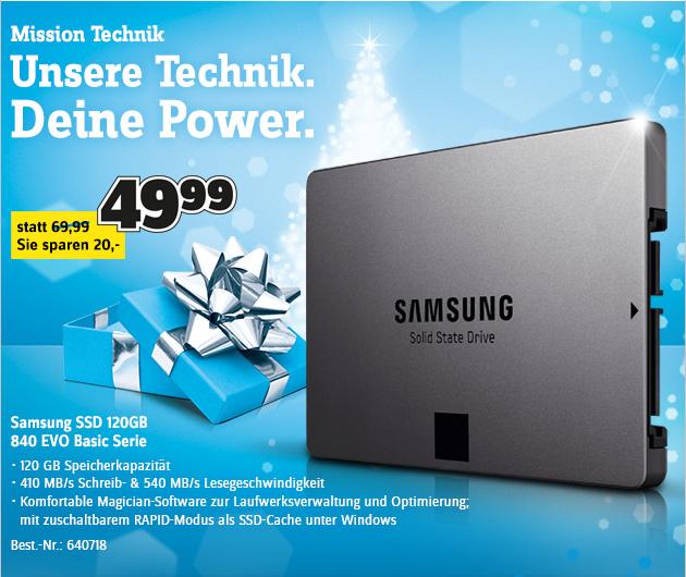 SSD-Speicher Samsung 840 EVO (120 GB) für 49,99 € in den Conrad Filialen - 25% sparen