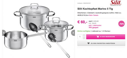 """Silit Kochtopfset """"Marino"""" (5-teilig) für 60 € - 25% sparen"""
