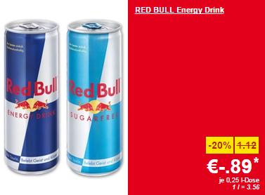 Lidl Supersamstag – Red Bull & Red Bull Sugarfree 250 ml-Dose um 0,89 € – nur heute