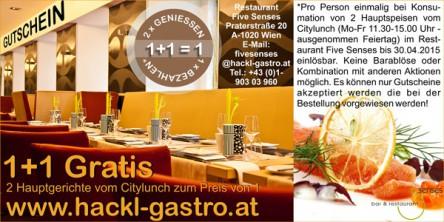 1+1 Gratis Essen & Trinken in Wien - bis zu 50% sparen