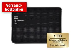 WD My Passport Ultra Exclusive mit 1 TB, Hülle & 5 Jahren Garantie für 59 €