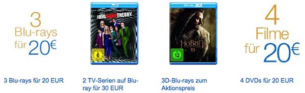 Filmangebote bei Amazon - unter anderem mit 6 DVDs für 20 € oder Blu-rays unter 10 €