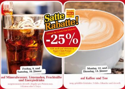 Billa: 25% auf Kaffee und Tee [am 12 + 13.1.2015]