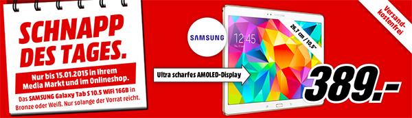 Samsung Galaxy Tab S 10.5 (16 GB, WiFi) für 389 € - 11% Ersparnis