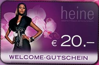 20€ Neukundengutschein ohne MBW von Heine - für 14€ kostenlos bestellen