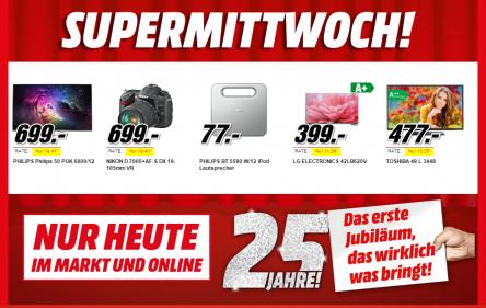 Media Markt Supermittwoch - 5 Artikel im Angebot - bis zu 23% sparen