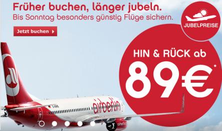 Jubelpreise bei airberlin: Hin- und Rückflüge ab 89 €