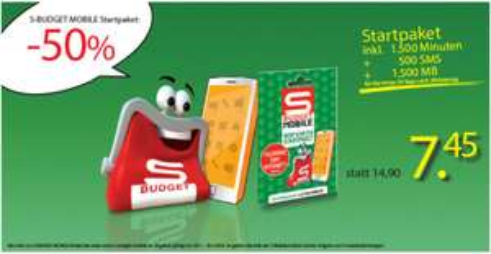 S-Budget Telefonie-Startpaket um 7,45 € - 50% sparen