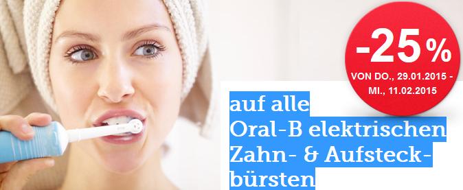 25% Rabatt auf alle elektrischen Oral-B Zahnbürsten (+Aufsteckbürsten) bei Spar - bis 11.2.2015