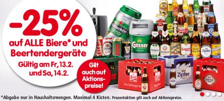 25% Rabatt auf alle Biere bei Interspar – am 13. und 14. Februar 2015
