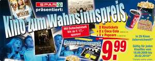 Kino-Bundle für 2 Personen um 10€ in allen Spar-Filialien
