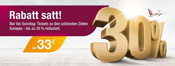 """""""Rabatt satt"""": Europaweite One-Way-Flüge mit Germanwings ab 33 € buchen"""