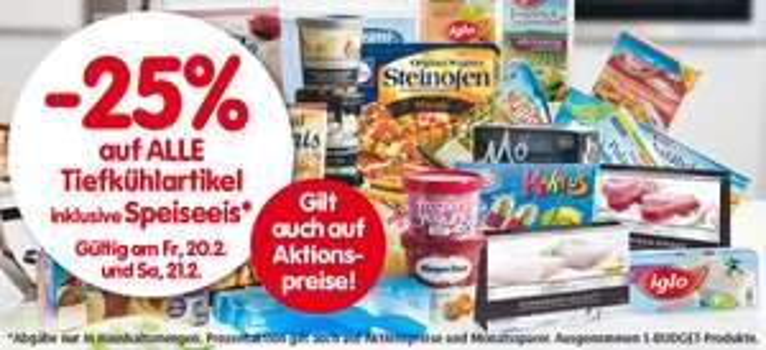Spar: 25% Rabatt auf alle Tiefkühlprodukte inkl Eis - bis 21.2.2015