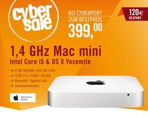 Apple Mac mini (i5, 4GB, 500GB) um 399 € - 12% sparen