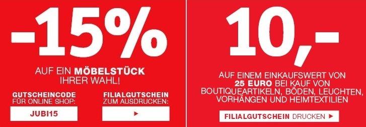 XXXLutz: 15% Rabatt auf ein Möbelstück Deiner Wahl und 10 € Gutschein ab 25 € MBW auf ausgewähltes Sortiment