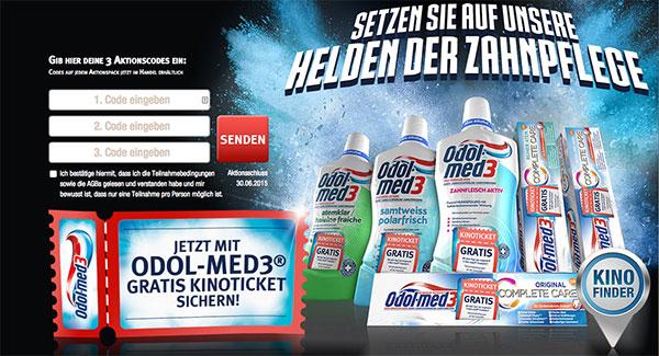 Kostenloses Kinoticket beim Kauf von drei Odol Med3-Aktionsartikeln