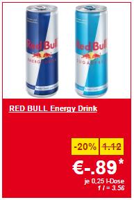 Lidl Supersamstag – Red Bull & Red Bull Sugarfree 250 ml-Dose um 0,89 € – nur am Samstag bei Lidl
