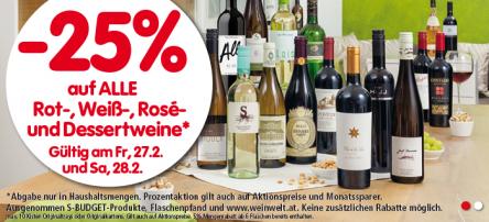 25% Rabatt auf alle Rot-, Weiß-, Rosé- und Dessertweine bei Spar, Eurospar & Interspar – am Freitag und Samstag